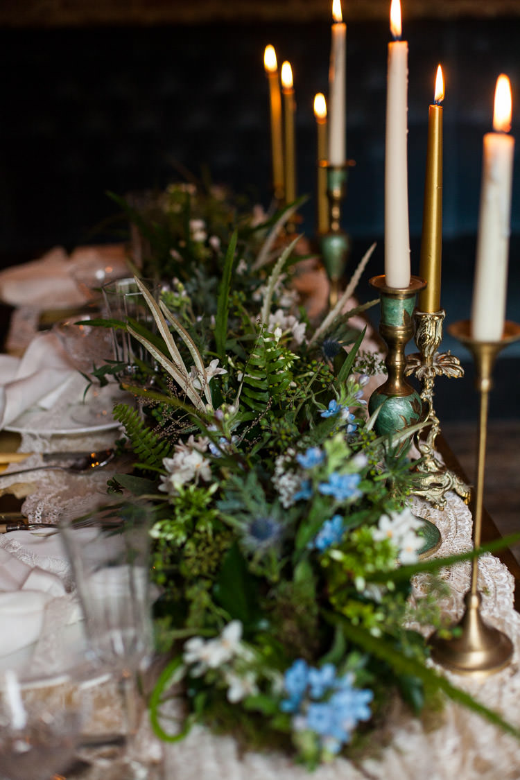 Tablescape Decor Candle Foliage Greenery Runner Table Centrepiece Blue Gold Luxe Victorian Wedding Ideas http://www.francescarlisle.co.uk/