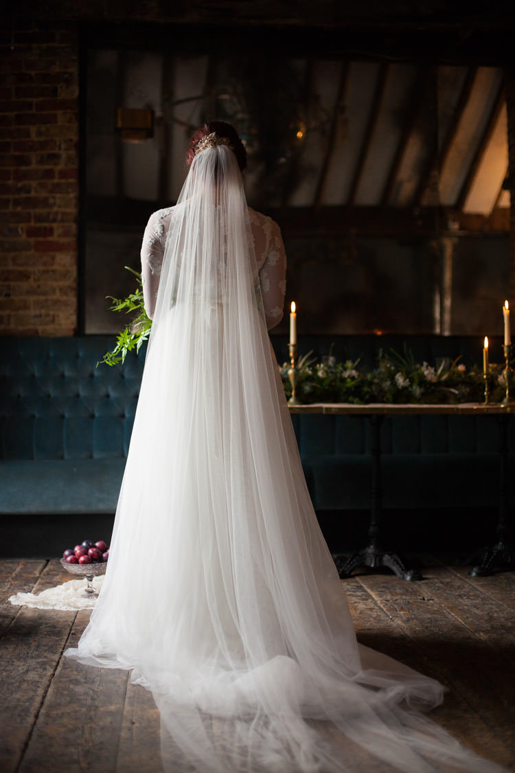 Veil Bride Bridal Gown Style Dress Cathedral Long Dreamy Tulle Blue Gold Luxe Victorian Wedding Ideas http://www.francescarlisle.co.uk/