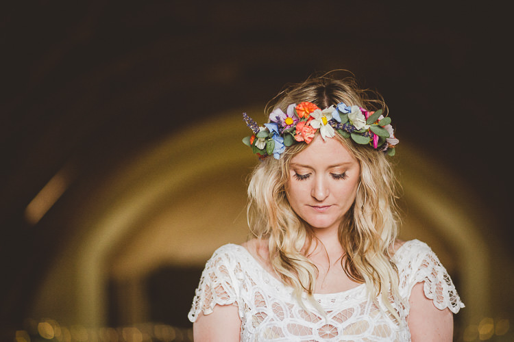 Flower Crown Bride Bridal Eclectic Whimsical Village Hall Wedding http://www.nicolacasey.photography/