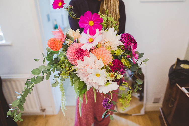 Bouquet Dahlia Autumn Pink Foliage Bride Bridal Flowers Eclectic Whimsical Village Hall Wedding http://www.nicolacasey.photography/