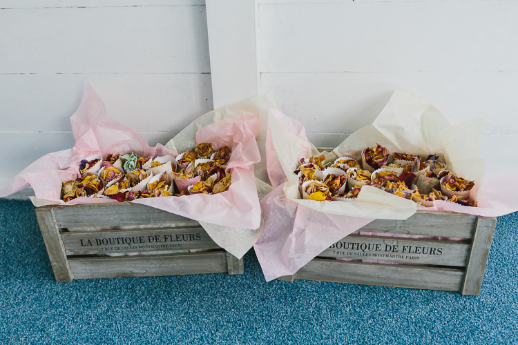 Crate Confetti Cones Petals Bohemian Outdoor Country Wedding https://www.alexapoppeweddingphotography.com/
