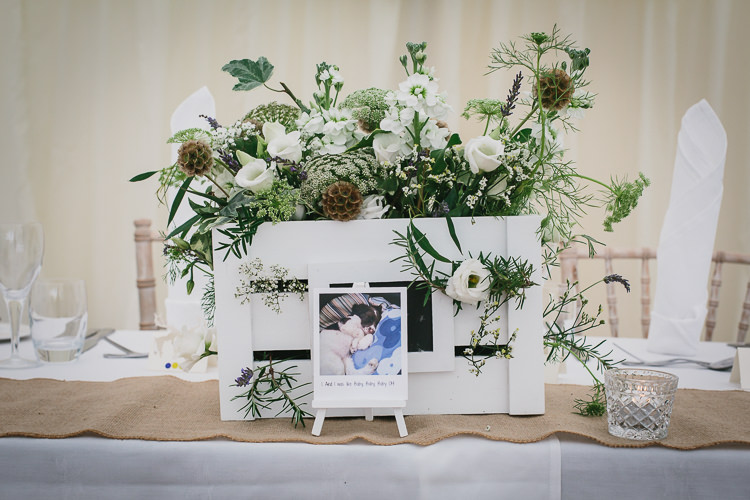 White Crate Flowers Table Decor Centrepiece Greenery Foliage Bohemian Outdoor Country Wedding https://www.alexapoppeweddingphotography.com/