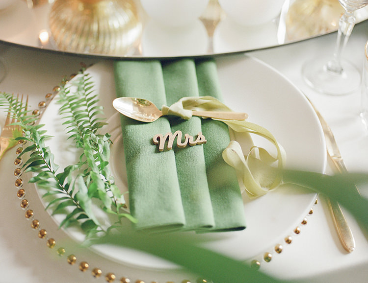 Green Gold Table Decor Place Name Greenery Fine Art Botanical Wedding Ideas http://georginaharrisonphotography.co.uk/