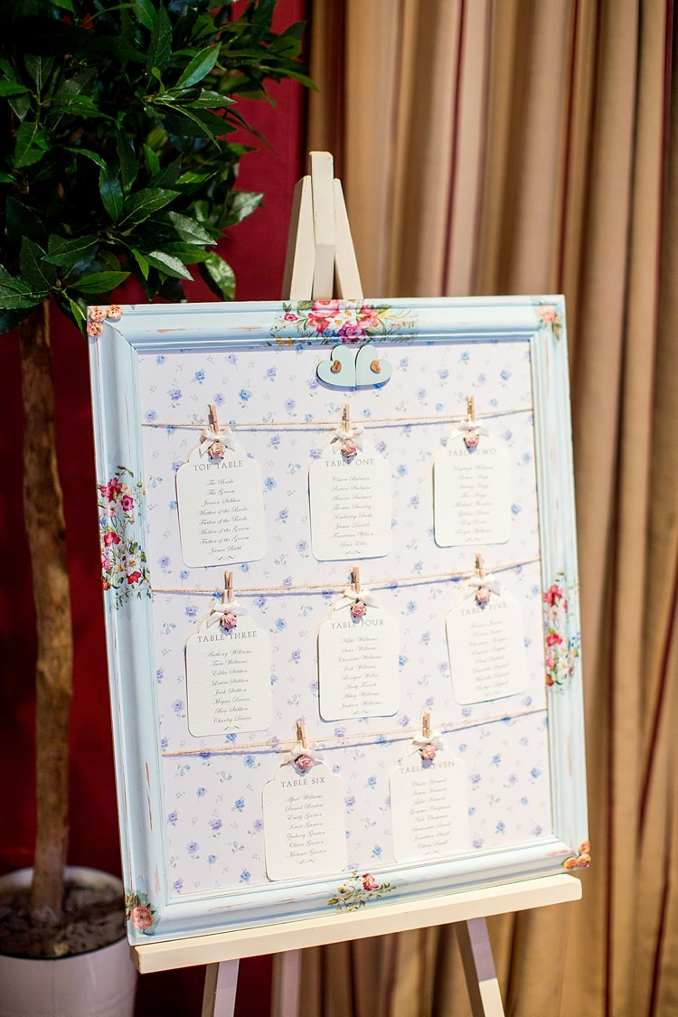 Floral Lugagge Tag Seating Plan Table Chart Frame Pastel Romantic Summer Country Blush Wedding http://katherineashdown.co.uk/
