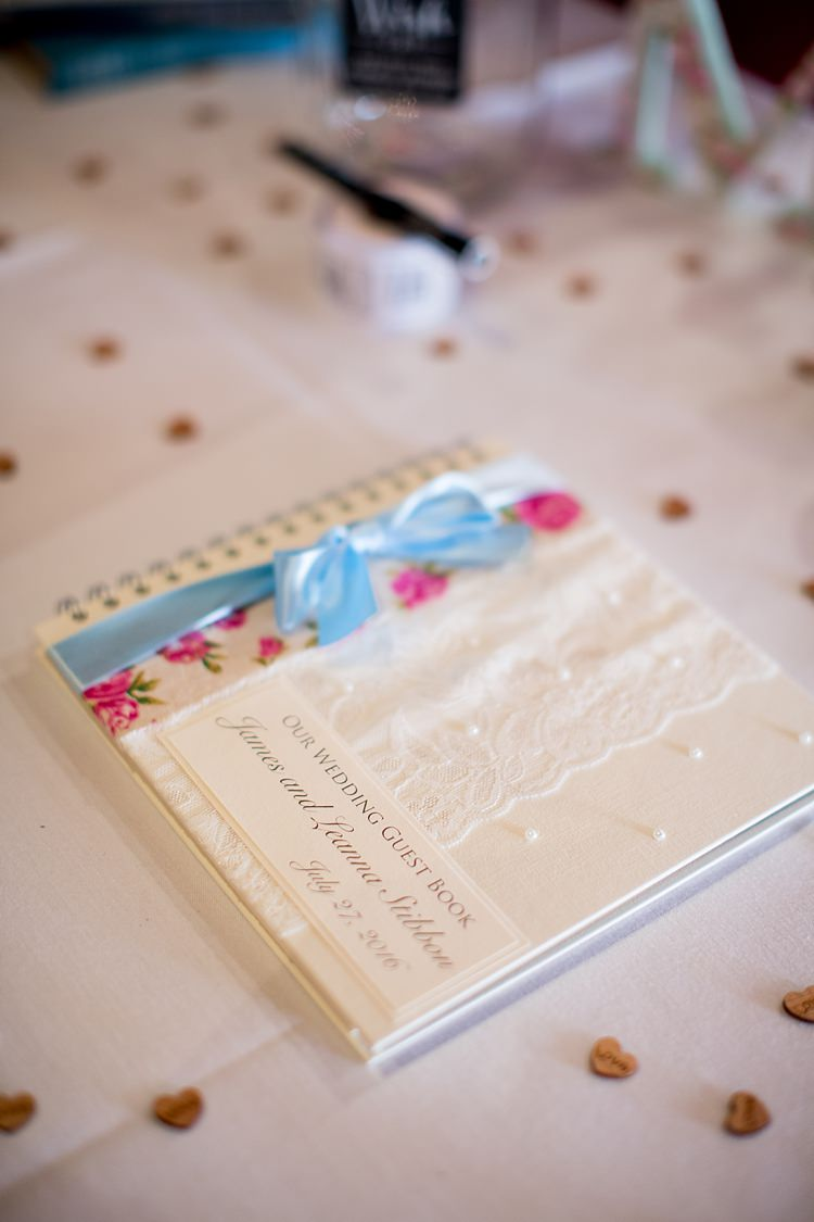 Floral Guest Book Pastel Ribbon Lace Romantic Summer Country Blush Wedding http://katherineashdown.co.uk/
