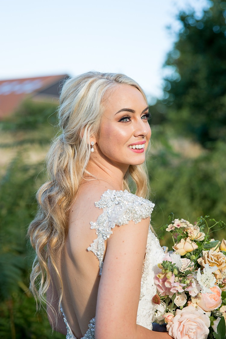 Make Up Bride Bridal Low Back Beaded Dress Gown Hair Long Waves Romantic Summer Country Blush Wedding http://katherineashdown.co.uk/