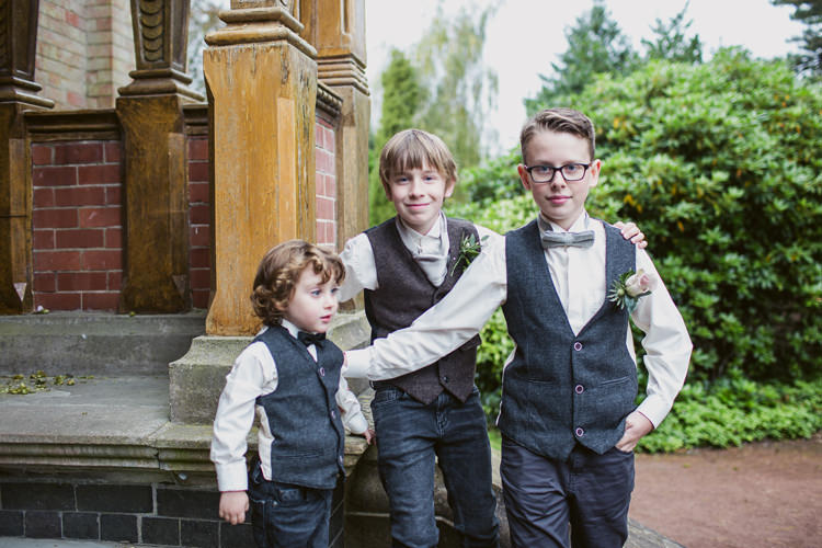 Waistcoat Tweed Jeans Page Boys Bow Ties Relaxed Autumnal Child Friendly Wedding http://kathrynedwardsphotography.com/