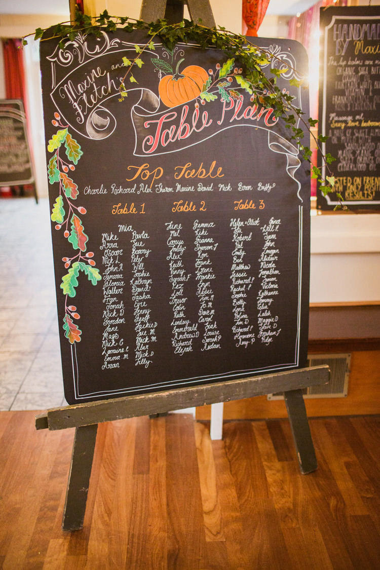 Black Chalk Board Seating Table Plan Chart Relaxed Autumnal Child Friendly Wedding http://kathrynedwardsphotography.com/