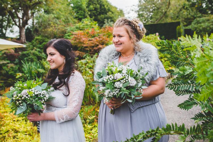Grey Bridesmaid Dresses Autumn Garden Books Wedding http://www.emmahillierphotography.com/
