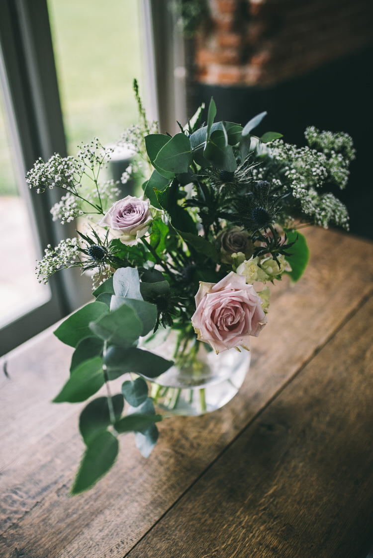 Vase Flowers Greenery Foliage Rose Pink Magical Bohemian Barn Wedding http://www.jamespowellphotography.co.uk/