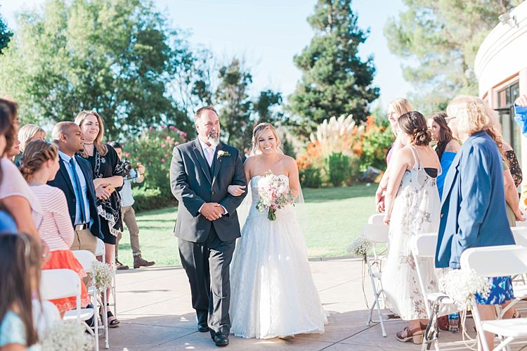 Outdoor Ceremony Bride Lace Sweetheart Strapless Bridal Gown Bouquet Father Entrance Guests Soft Blush Sage Green Wedding California http://julia-rosephotography.com/