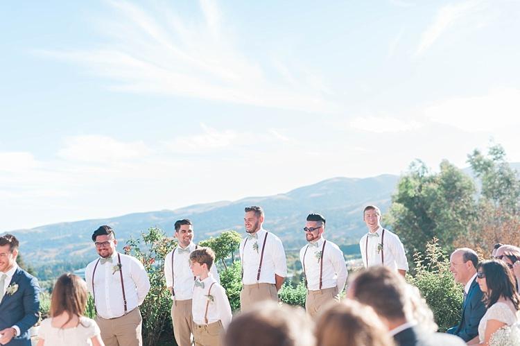 Outdoor Ceremony Groom Navy Jacket Light Green Tie Groomsmen Page Boy White Shirt Leather Suspenders Bowties Soft Blush Sage Green Wedding California http://julia-rosephotography.com/