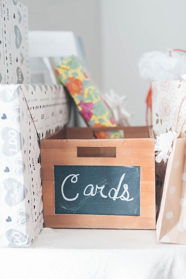 Reception Present Table Wooden Card Box Blackboard Label Soft Blush Sage Green Wedding California http://julia-rosephotography.com/