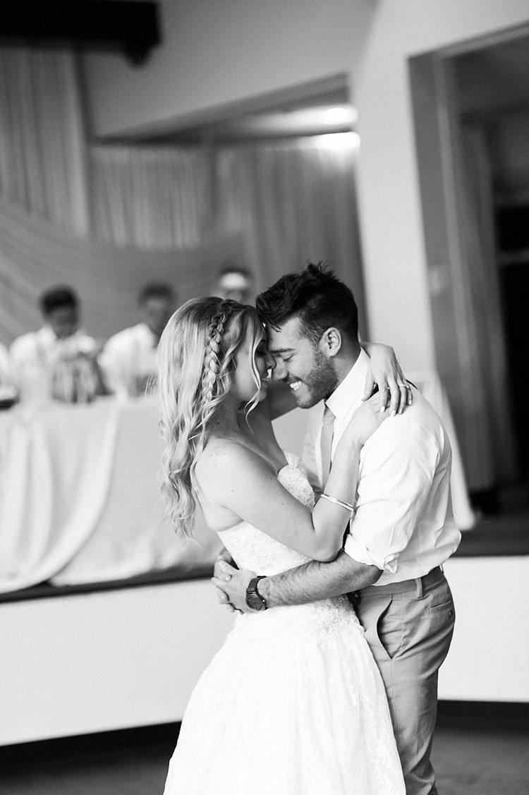 Reception Dancing Bride Lace Sweetheart Strapless Bridal Gown Braid Hairstyle Groom White Shirt Light Green Tie Beige Pants Bridal Table Soft Blush Sage Green Wedding California http://julia-rosephotography.com/