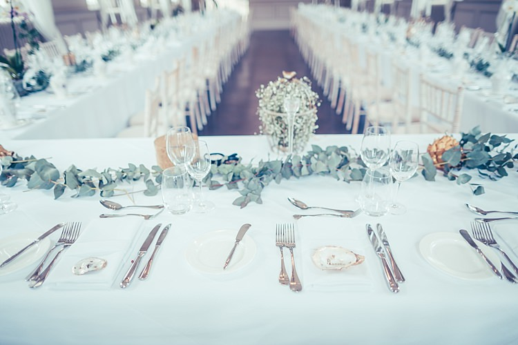 Eucalyptus Foliage Table Decor Oyster Shell Place Names Fun Stylish City Hall Wedding http://www.terryliphotography.co.uk/