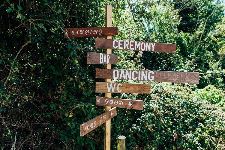 Wooden Sign Post Fun DIY Barn Farm Summer Wedding http://www.annapumerphotography.com/