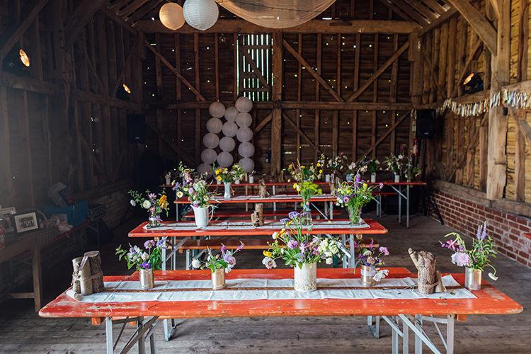 Decor Flowers Table Rustic Fun DIY Barn Farm Summer Wedding http://www.annapumerphotography.com/