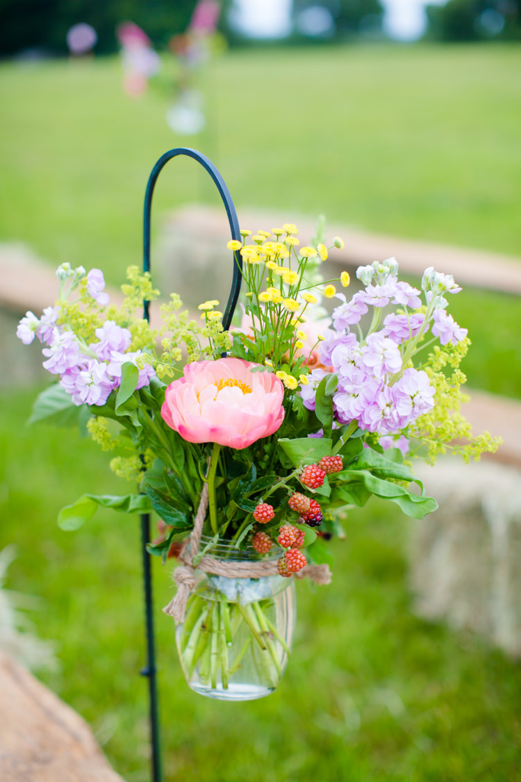 Flowers Jar Hook Aisle Peony Berries Summer Wild Colourful Pastel Home Made Farm Wedding http://helencawtephotography.com/