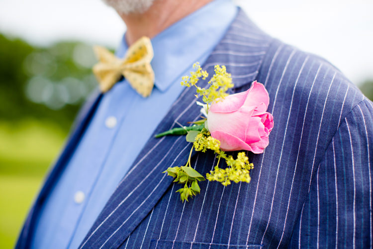 Pink Rose Buttonhole Colourful Pastel Home Made Farm Wedding http://helencawtephotography.com/