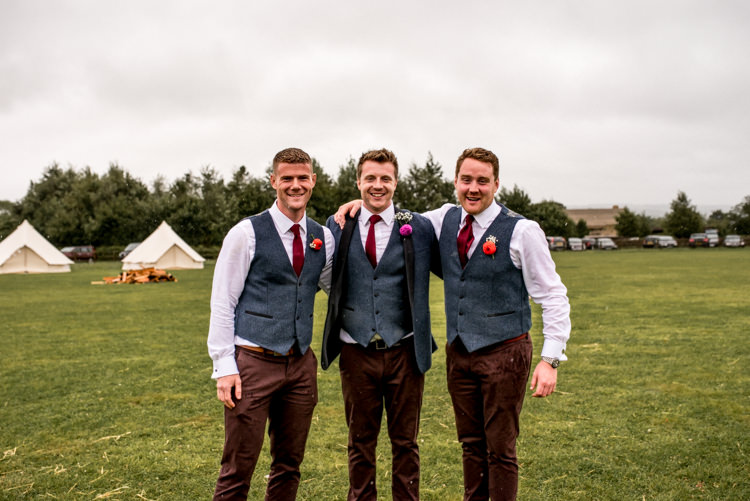 Waistcoats Chinos Groom Groomsmen Red Ties Multicoloured Home Made Glamping Wedding http://www.michellewoodphotographer.com/