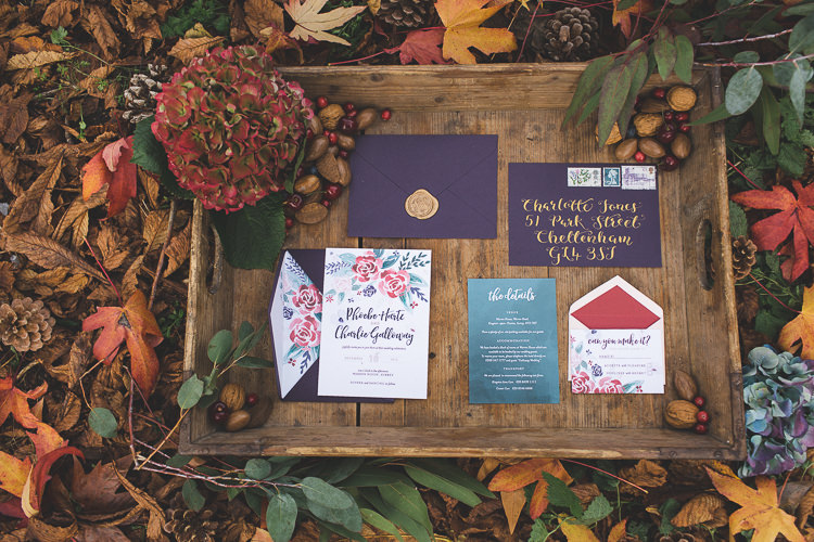 Stationery Floral Purple Red Gold Magical Autumn Outdoorsy Woodland Wedding Ideas http://kirstymackenziephotography.co.uk/