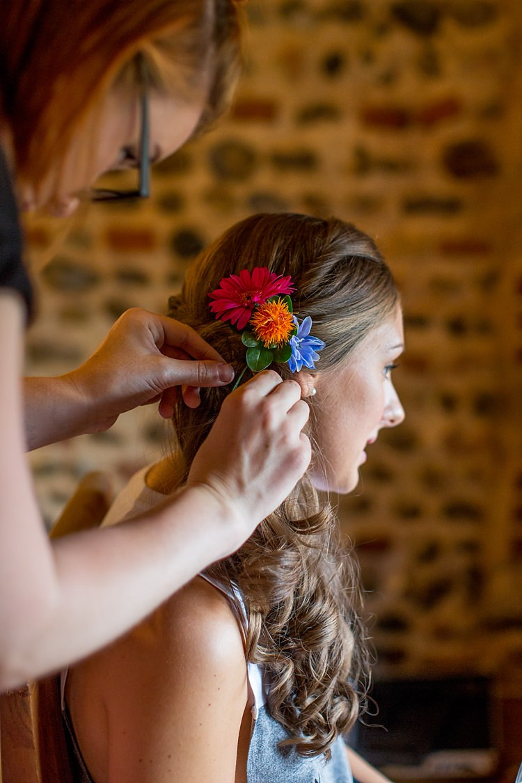 Long Hair Flowers Bride Bridal Style Mexican Inspired Colourful Cactus Wedding http://katherineashdown.co.uk/