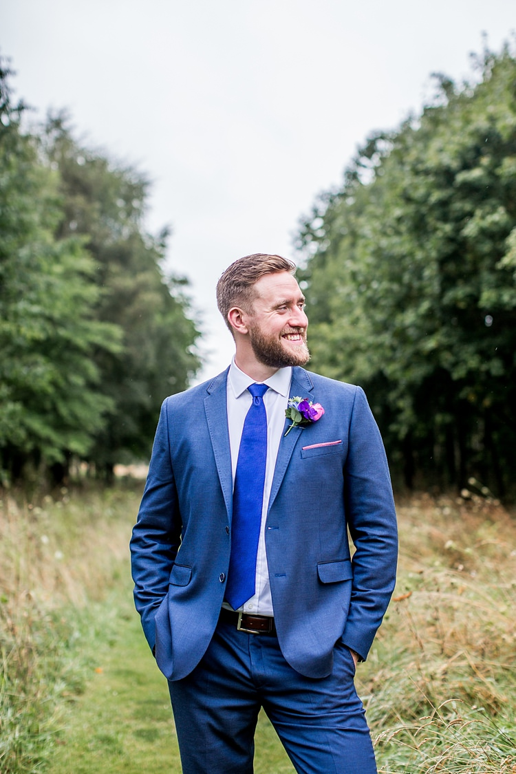 Ted Baker Blue Suit Groom Mexican Inspired Colourful Cactus Wedding http://katherineashdown.co.uk/