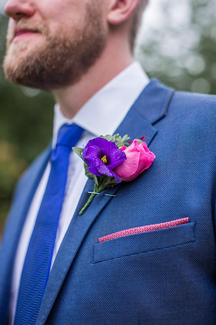 Pink Rose Buttonhole Groom Mexican Inspired Colourful Cactus Wedding http://katherineashdown.co.uk/