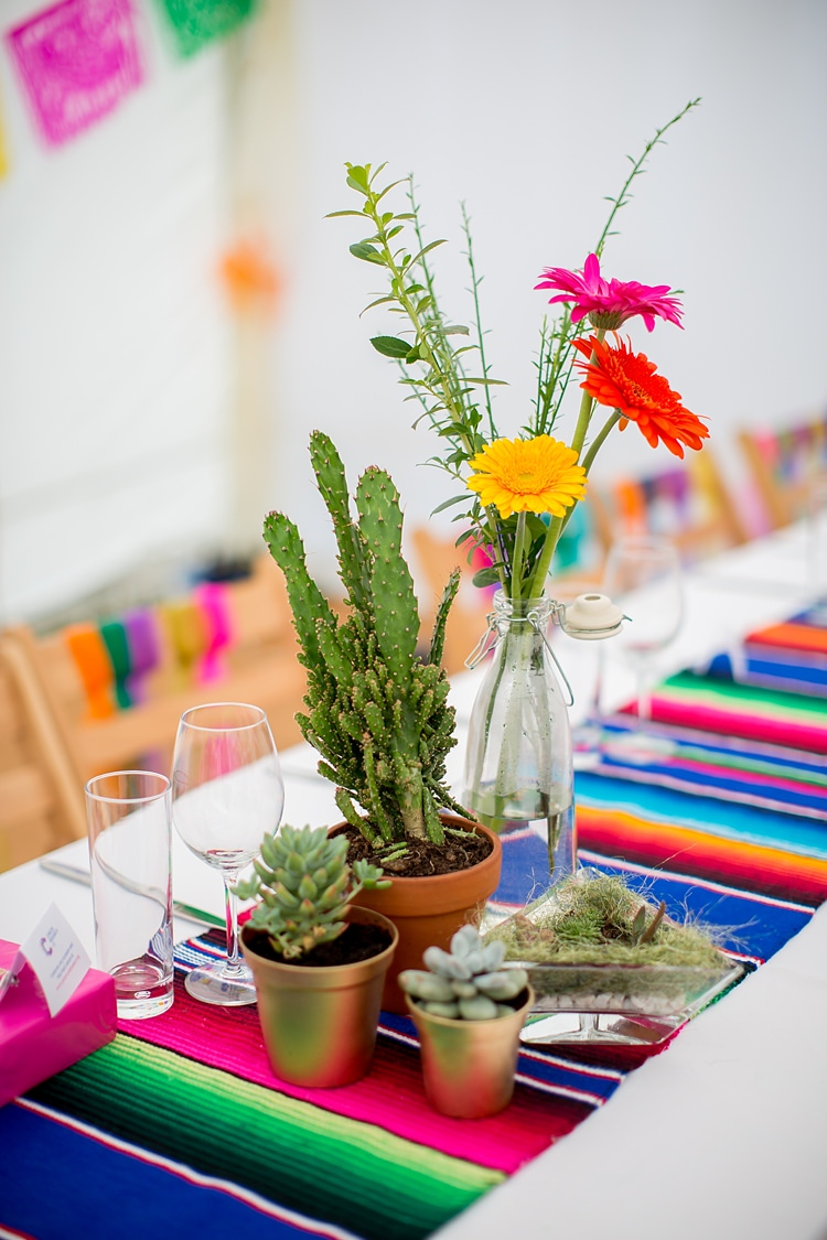 Succulent Decor Centrepiece Runner Bottle Pots Mexican Inspired Colourful Cactus Wedding http://katherineashdown.co.uk/