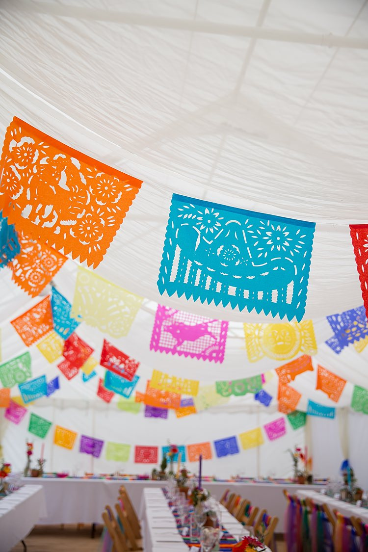 Papel Picado Bunting Decor Mexican Inspired Colourful Cactus Wedding http://katherineashdown.co.uk/