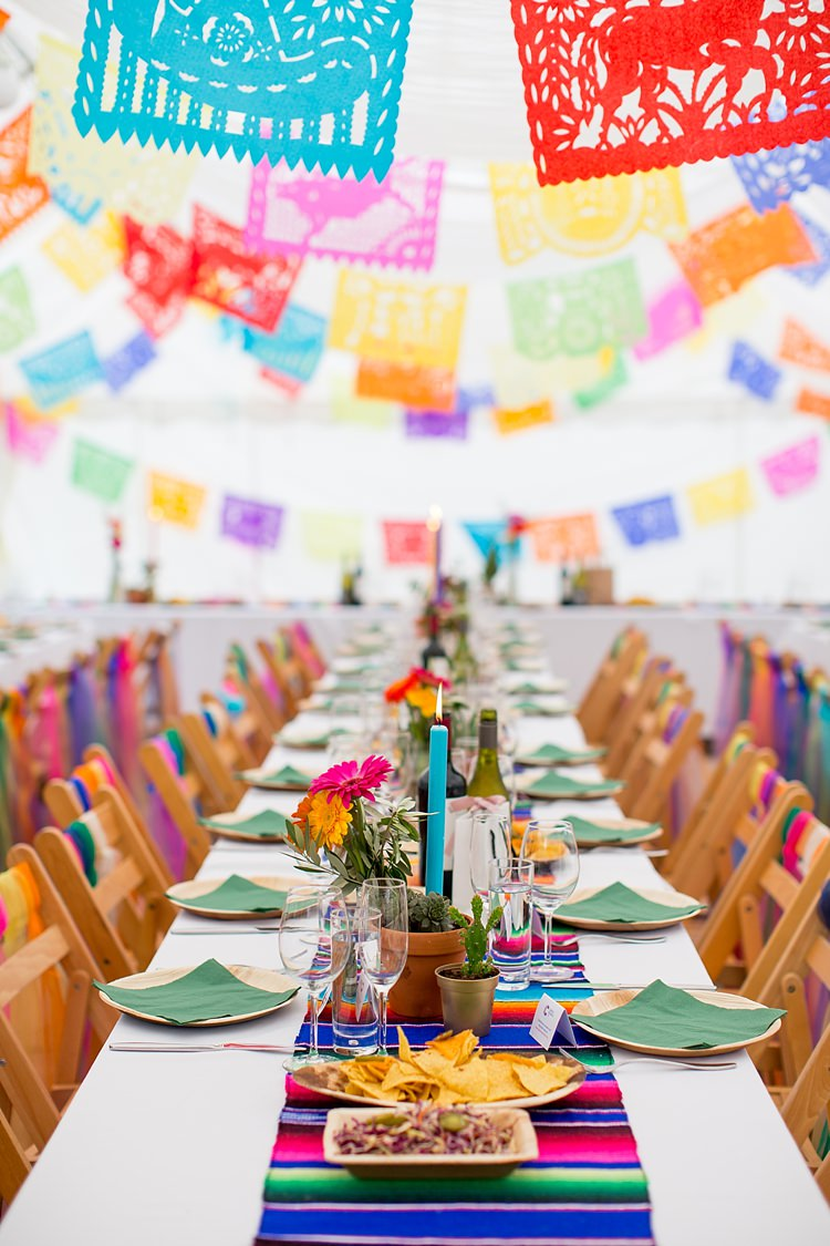Marquee Papel Picado Bunting Decor Mexican Inspired Colourful Cactus Wedding http://katherineashdown.co.uk/