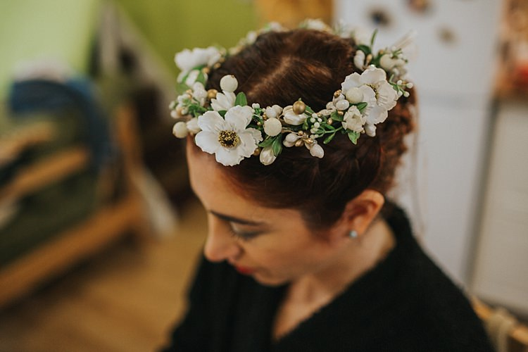 White Flower Crown Hair Bride Bridal Whimsical Seaside Wedding Pale Pink Dress http://devlinphotos.co.uk/