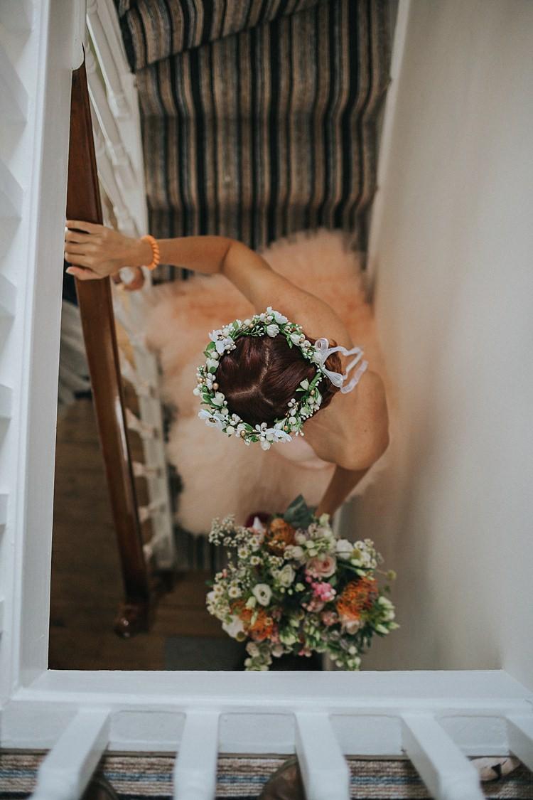 Flower Crown Circlet Headdress Ribbon Bride Bridal Whimsical Seaside Wedding Pale Pink Dress http://devlinphotos.co.uk/