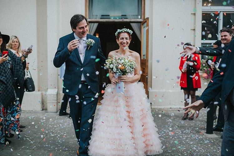 Confetti Throw Whimsical Seaside Wedding Pale Pink Dress http://devlinphotos.co.uk/
