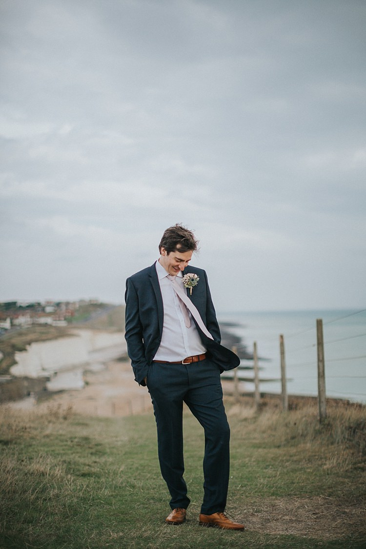 Navy Suit Tie Groom Style Tan Shoes Whimsical Seaside Wedding Pale Pink Dress http://devlinphotos.co.uk/