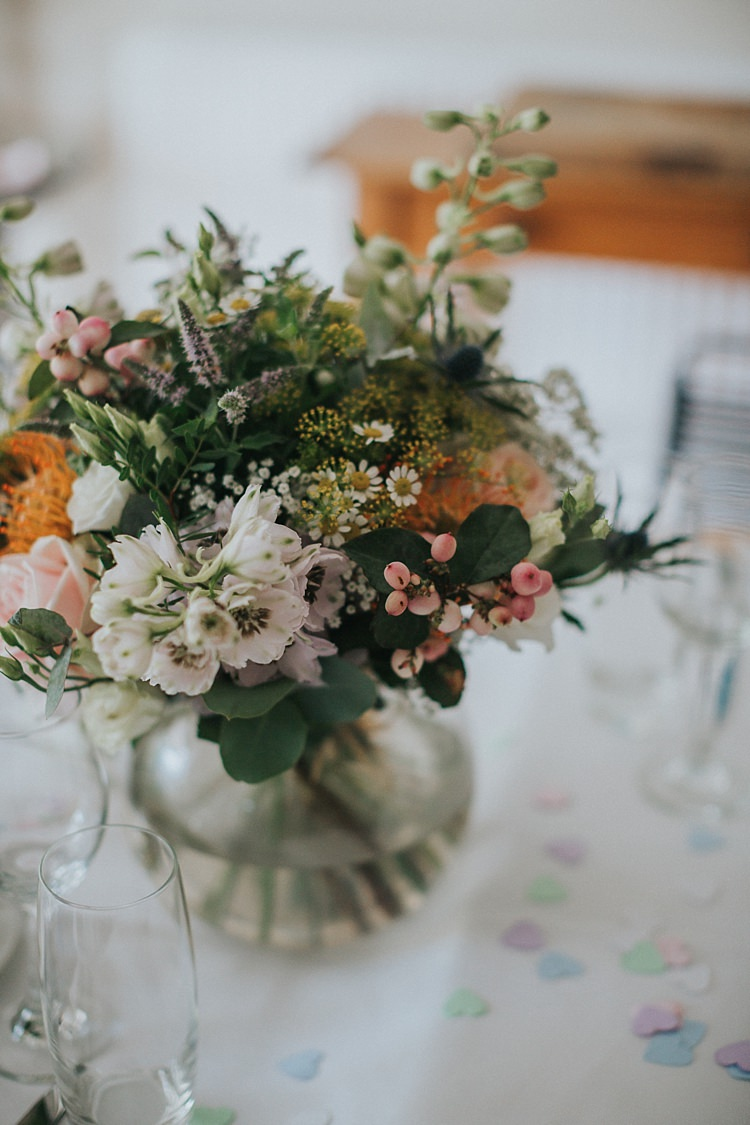Table Decor Vase Bouquet Flowers Natural Wild Pink Yellow Rose Daisy Billy Ball Thistle Berries Whimsical Seaside Wedding Pale Pink Dress http://devlinphotos.co.uk/