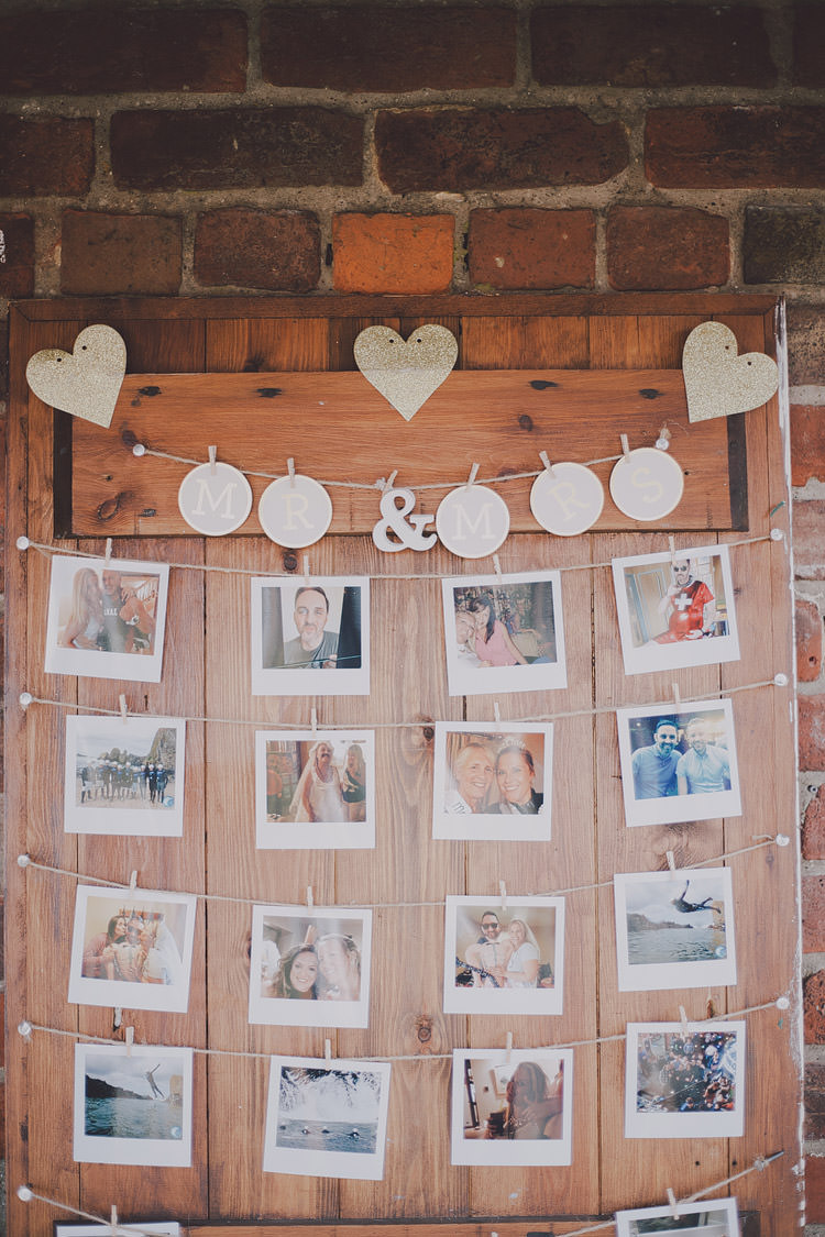 Wooden Polariod Photo Wall Door Chic Rustic Grey Barn Wedding http://www.kevelkinsphotography.co.uk/