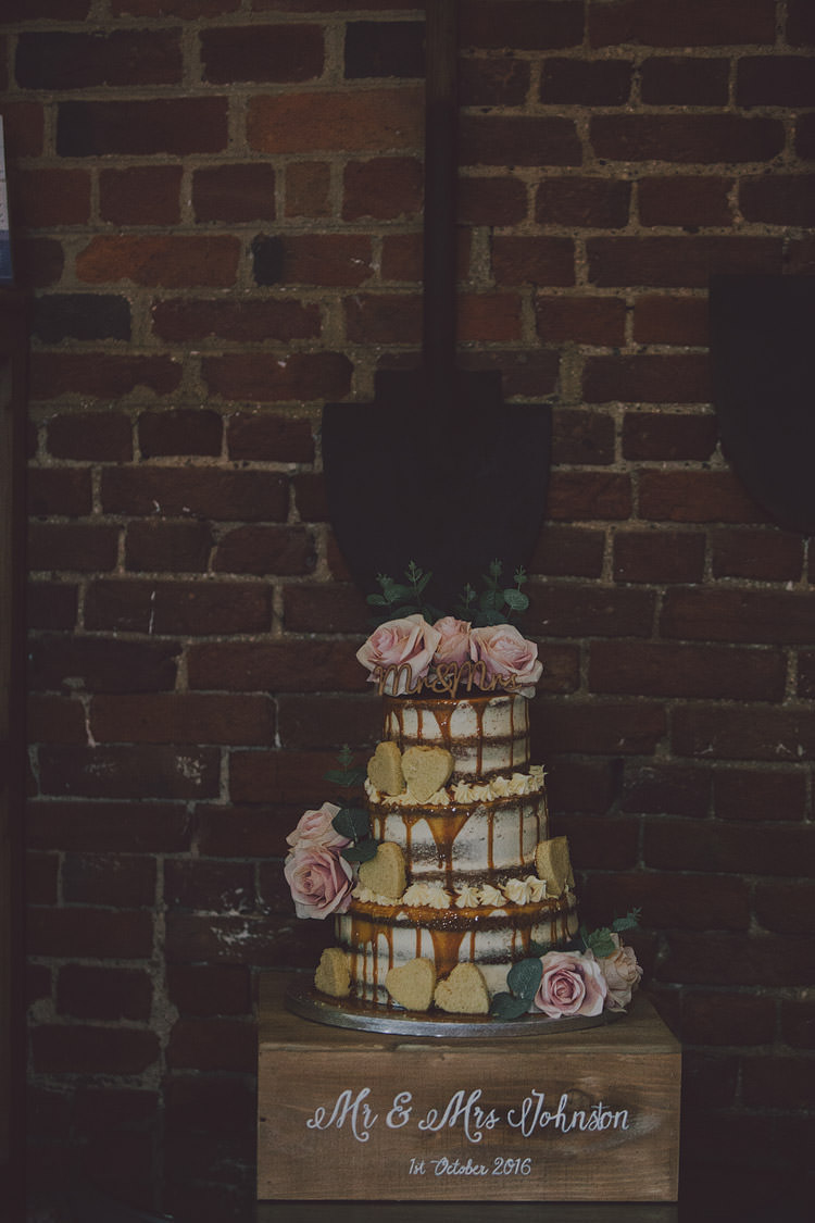 Cake Drip Naked Buttercream Flowers Heart Shortbread Crate Stand Chic Rustic Grey Barn Wedding http://www.kevelkinsphotography.co.uk/