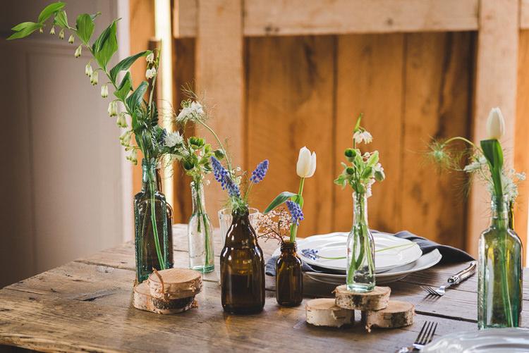 Bottle Flowers Table Decor Magical Spring Bluebell Woodland Wedding Ideas http://helinebekker.co.uk/
