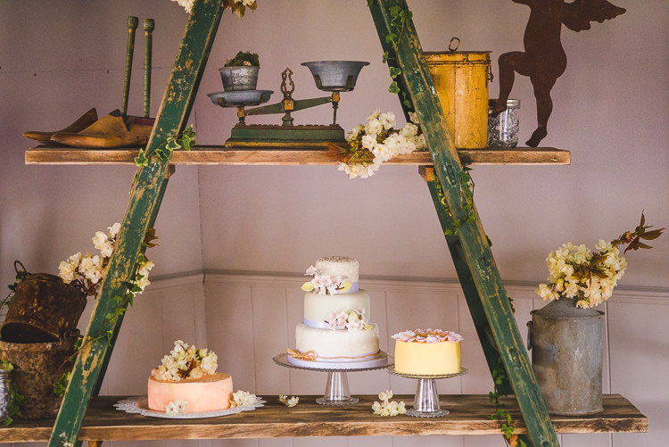 Ladder Cake Table Magical Spring Bluebell Woodland Wedding Ideas http://helinebekker.co.uk/