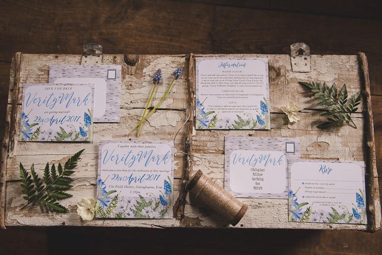 Floral Stationery Invitation Magical Spring Bluebell Woodland Wedding Ideas http://helinebekker.co.uk/