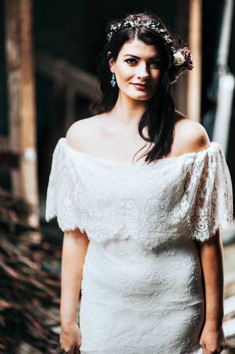 Off The Shoulder Bardot Dress Gown Bride Bridal Bohemian Mermaid Wedding Ideas https://www.elizaclaire.com/
