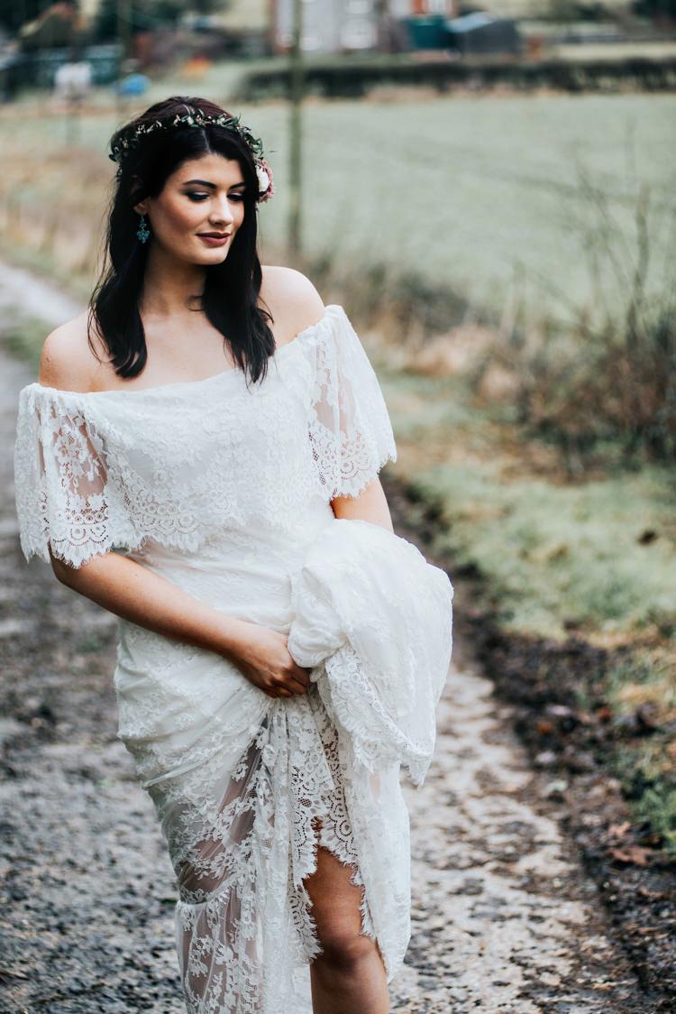 Daughters Of Simone Lace Off Shoulder Boho Dress Gown Bride Bridal Bohemian Mermaid Wedding Ideas https://www.elizaclaire.com/