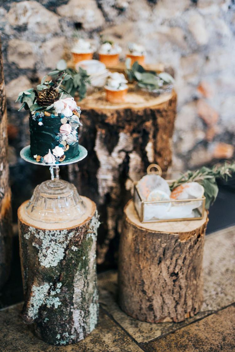 Cake Stand Log Tree Stump Bohemian Mermaid Wedding Ideas https://www.elizaclaire.com/
