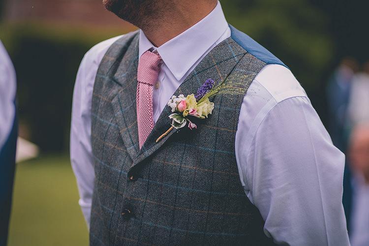 Buttonhole Groom Pink Green Homespun Fun Country Barn Wedding http://storyandcolour.co.uk/