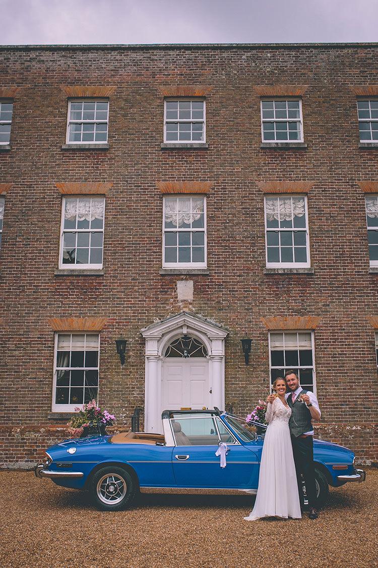 Blue Classic Car Vintage Homespun Fun Country Barn Wedding http://storyandcolour.co.uk/