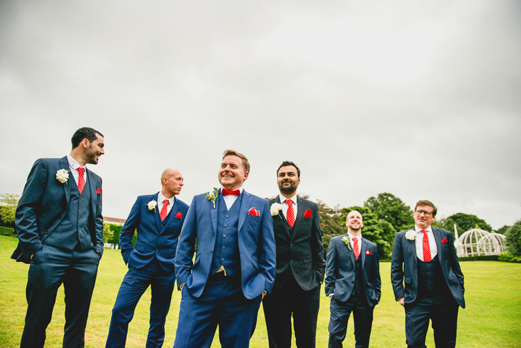 Blue Suit Groom Red Bow Tie Groomsmen Fun Quirky 1950s Wedding http://www.lisacarpenterphotos.com/