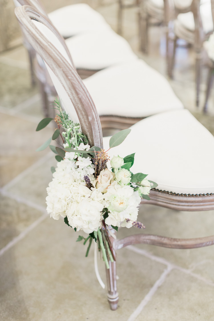 Chair Flowers Aisle Ceremony Decor Pew End White Hydrangeas Roses Whimsical Elegant Classic Wedding http://katymelling.com/