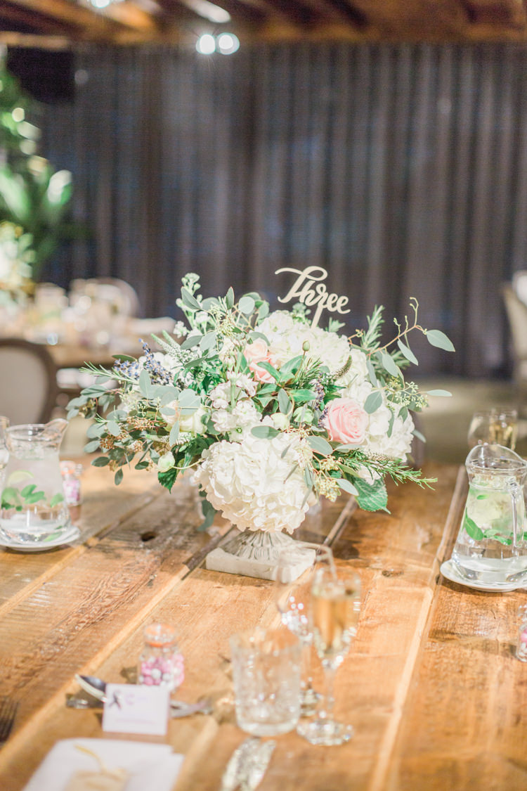 Table Flowers Centrepiece Hydrangeas White Pink Roses Foliage Whimsical Elegant Classic Wedding http://katymelling.com/