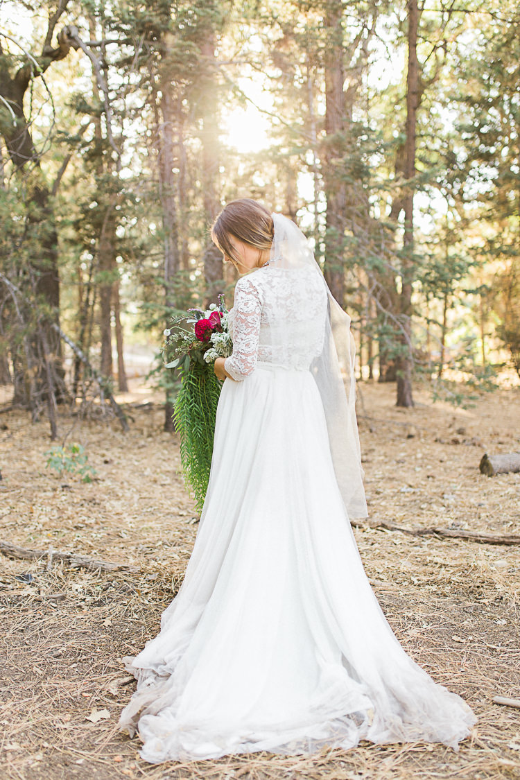 Bride Watters Separates Lace Top Tulle Skirt Veil Statement Necklace Cascading Multicoloured Bouquet DIY Whimsical Camp Wedding California http://www.landbphotography.org/